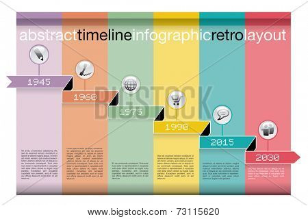 vector abstract color timeline infographic with icons