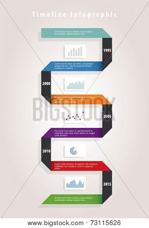 vector timeline infographic with paper ribbon