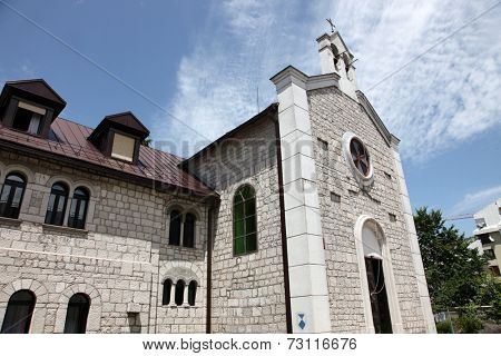 CETINJE, MONTENEGRO - JUNE 09, 2012: The Catholic Church of St. Anthony of Padua, on June 09, 2009 in Cetinje, Montenegro
