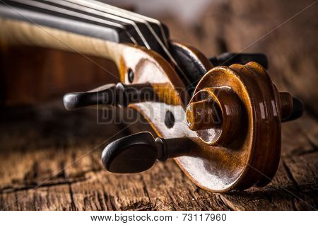 violin in vintage style on wood background
