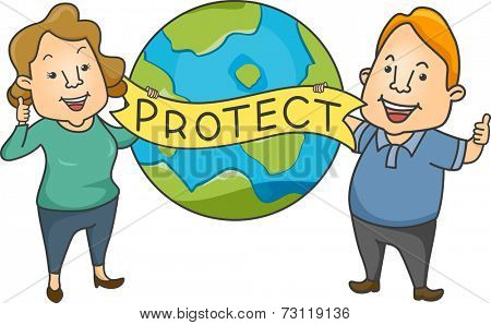 Illustration Featuring a Man and a Woman Advocating Environmental Protection
