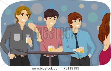 Illustration Featuring Guys Checking Out a Girl in a Bar