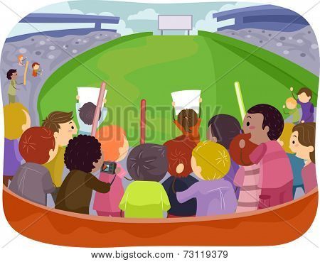 Illustration Featuring a Game Arena with Sports Fans Cheering From the Bleachers