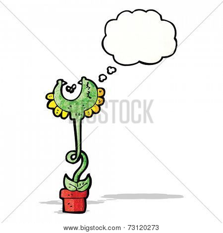 carnivorous flower with thought bubble