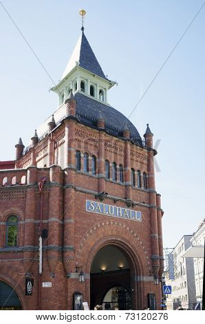 STOCKHOLM, SWEDEN - MAY 16, 2014: Stermalms Saluhall, a market hall a beautiful 1880s red brick building.