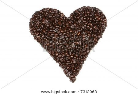roasted coffee beans shaped in a heart
