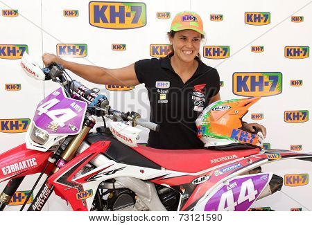 BARCELONA - SEPT, 15: Enduro World Champion Laia Sanz, during the presentation of her motorbike at the Museu Colet on September 15, 2014 in Barcelona