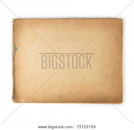 Cover of old 1950s - 1960s sketchbook isolated on white.
