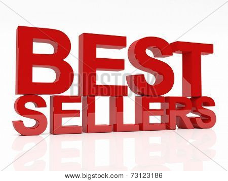 3d image of best sellers text on white background