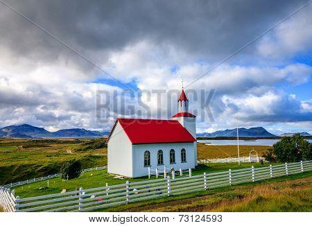 Icelandic church near Helgafell Mountain in western Iceland