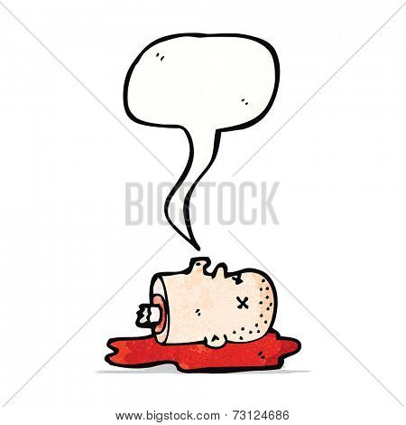 cartoon talking severed head