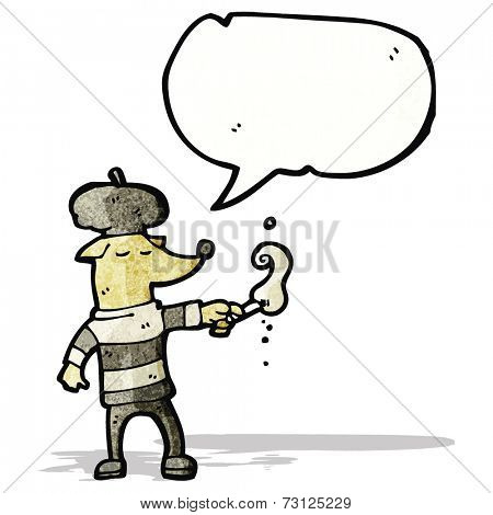 cartoon dog wearing beret and smoking