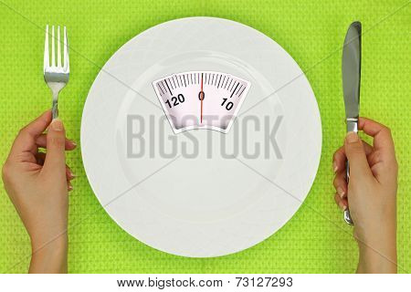 Hands and plate with weighing scale on the table