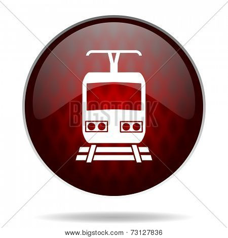 train red glossy web icon on white background