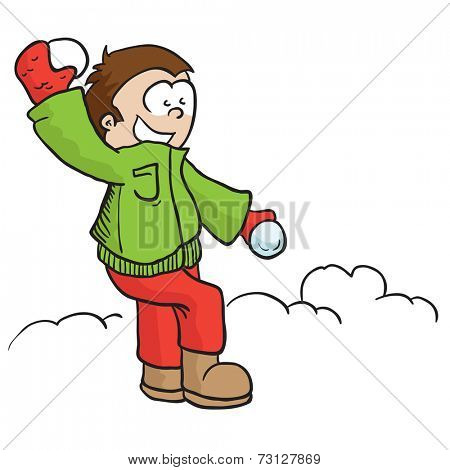 boy throwing snowball cartoon illustration