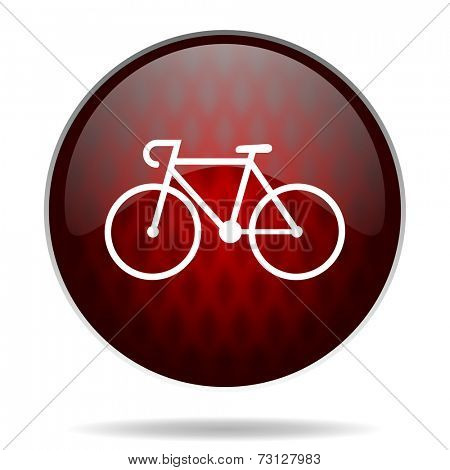 bicycle red glossy web icon on white background