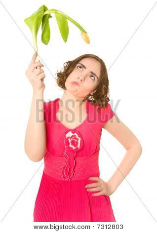 Woman Holding Yellow Tulip