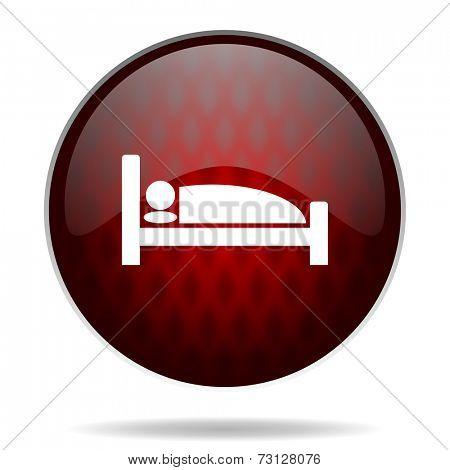 hotel red glossy web icon on white background