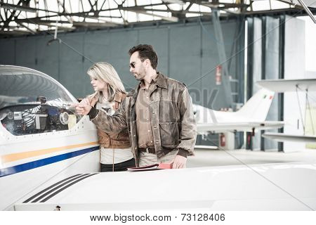 Female beginner pilot with instructor
