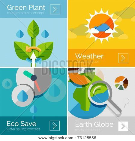 Set of eco nature flat design concepts, banners. Sun and clouds, water conservation, green plant