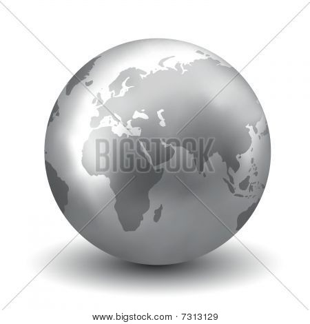 Shiny Silver Earth Globe