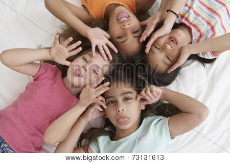 Young girls being silly