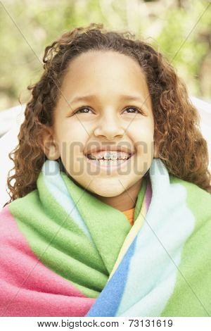 African American girl smiling with braces