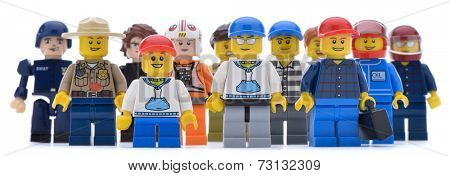 Ankara, Turkey  May 28, 2013:  Studio shot of different types of Lego labor isolated on white background.