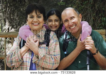 Hispanic family backpacking