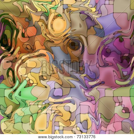 art abstract colorful chaotic waves seamless pattern, background in beige, old gold and violet colors