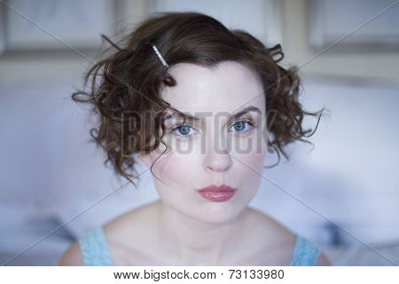 Close up of woman with barrette in hair