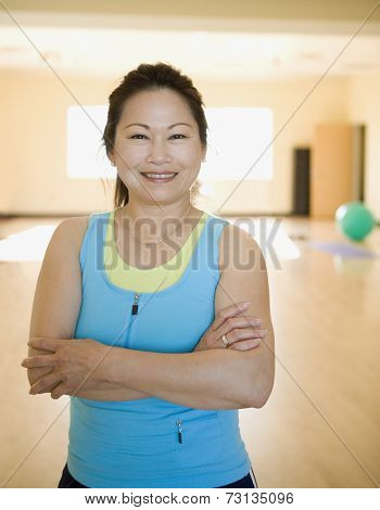 Middle aged woman smiling for the camera
