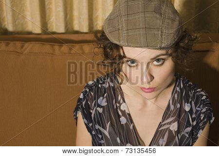 High angle view of woman wearing hat