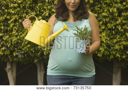Pregnant woman watering potted plant outdoors