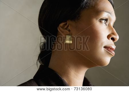 Side view studio shot of African woman