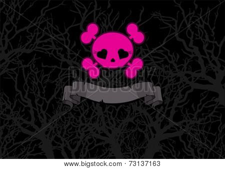 Cute pink crossbones on scary black background