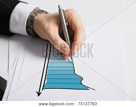 business, marketing, planning and people concept - close up of male hand with pen drawing graph on white paper