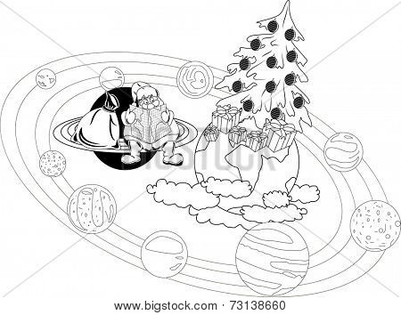 Santa Claus sitting with a map on the rings of the planet, and selects the itinerary