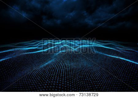 Digitally generated binary code landscape on black background