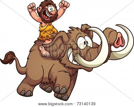 Caveman riding a mammoth. Vector clip art illustration with simple gradients. All in a single layer.
