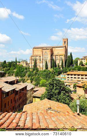 View of Siena and Basilica Cateriniana San Domenico, Siena, Italy