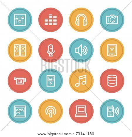 Media web icons, color circle buttons