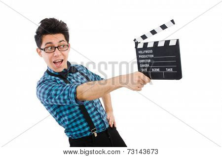 Man with movie clapperboard isolated on white