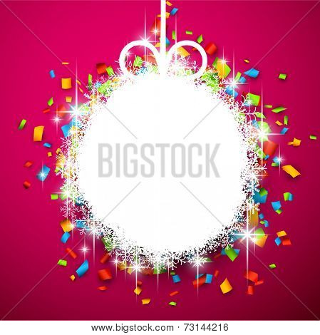 Christmas paper ball over colorful confetti. Vector background.