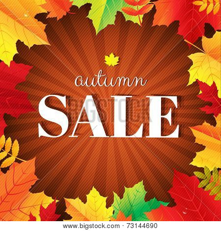 Autumn Sale Burst Poster With Leaves