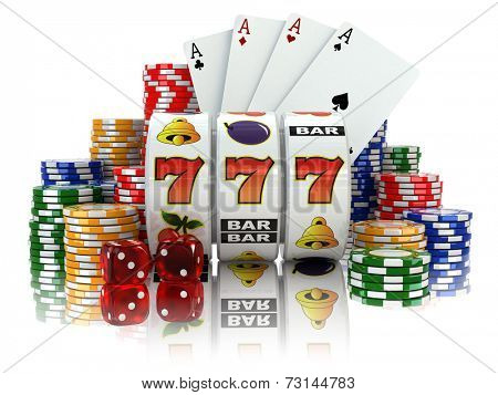 Casino. Slot machine with jackpot, dice, cards and chips. 3d