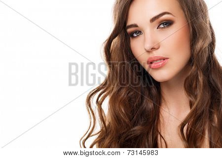 Cute, attractive girl with curly hair