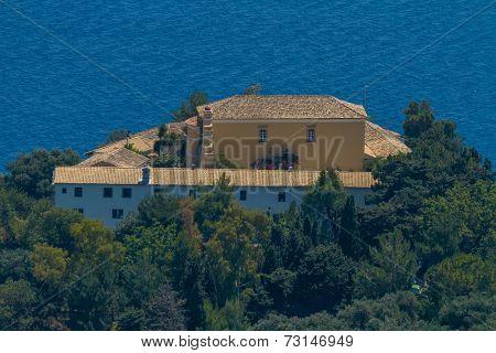 Aerial of monastery in Paleokastritsa, Corfu (Kerkyra), Greece
