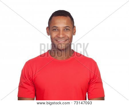 Smiling casual latin man isolated on a white background