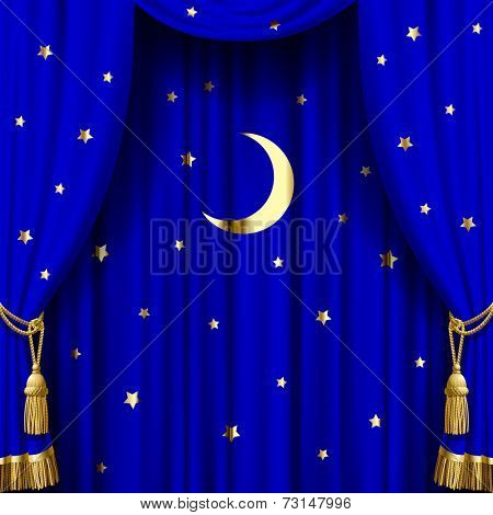 Vector image of blue curtain with gold tassels, moon and stars. Square theater and Christmas background. Artistic poster